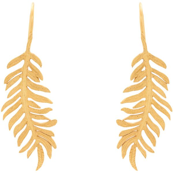 Julie Vos Fern Gold Earrings (86 CAD) ❤ liked on Polyvore featuring jewelry, earrings, gold, charm jewelry, 24k gold jewelry, gold earrings, 24k earrings and gold charms
