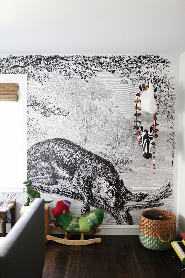 best wallpaper images on pinterest  wallpaper home and wall - bold black and white line art tiger mural in kids room so modern