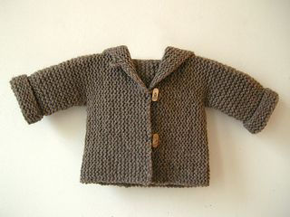 Free newborn - 6 mos. knitted sweater pattern (Average level of difficulty).