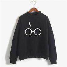 Harry Potter Gafas Imprimir Sudadera Mujeres Sudadera Con Capucha Del O-cuello de Manga Larga de Algodón Sudadera Polar Impreso Pullover Mujer NSW-21568(China (Mainland))
