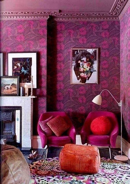 Яркий #интерьер Abigail Ahern #цвета лепестков гвоздики #decoration #PetalPinks #Pink #fabric #цвет #color #ткани