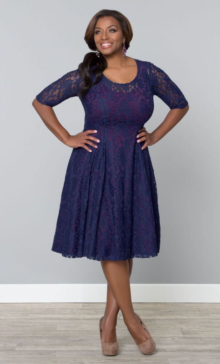 Sweet Leah Lace Dress, Blue Lace and Plum Lining (Womens Plus Size)   From The Plus Size Fashion Community At www.VintageAndCurvy.com