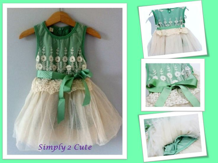 'ELLA' - Beautiful mint green sleeveless cotton bodice with lace overlay and tutu skirt. Available in sizes 2 - 6 years.