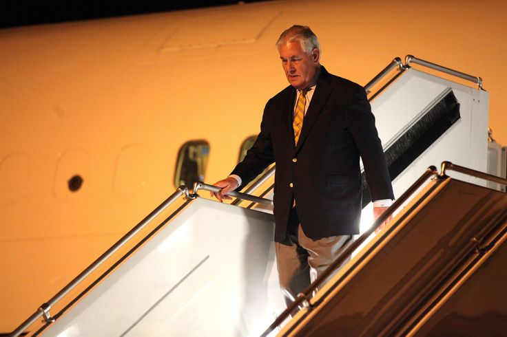 https://flic.kr/p/S6Rj7u | Secretary Tillerson Deplanes Upon Arrival at the Cologne Bonn Airport | U.S. Secretary of State Rex Tillerson deplanes upon his arrival at the Cologne Bonn Airport on February 15, 2017, to participate in the G-20 Foreign Ministers' Meeting. This is his first official trip as Secretary of State. [State Department photo/ Public Domain]