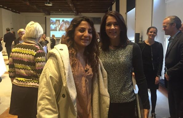 Crown Princess Mary with footballer Nadia Nadim..
