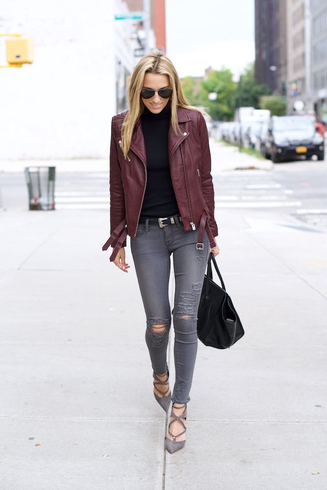 IRO Burgundy Leather Jacket, Schutz Heels, Celine Bag, Grey ripped jeans