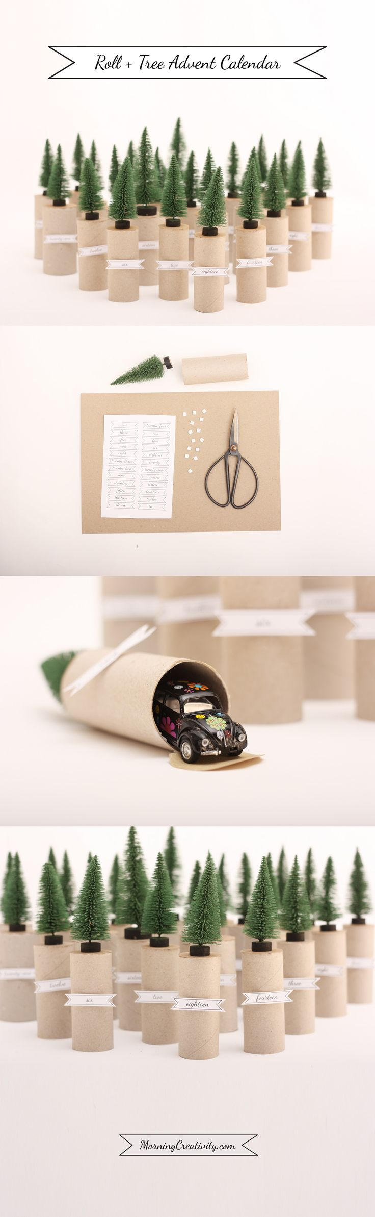 Roll + Tree Advent Calendar made from Toilet Paper rolls and mini trees