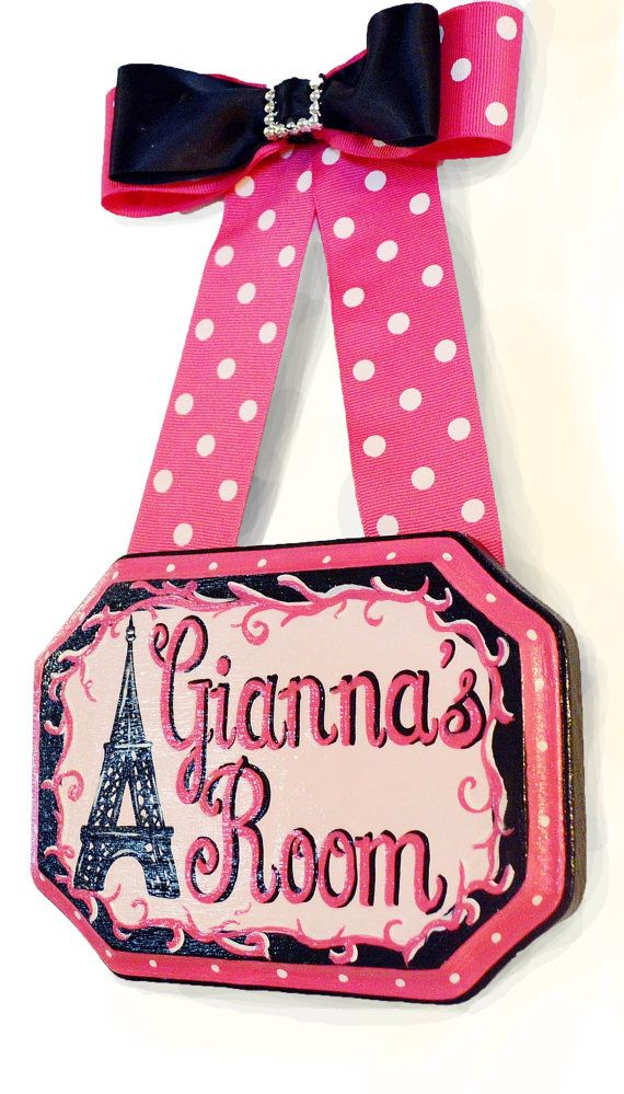 Eiffel Tower Hand Painted Name Sign by PaintBrushedBoutique
