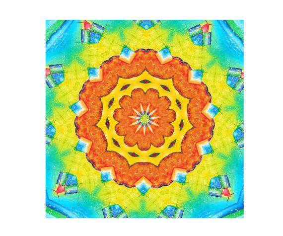 Mandala arancione. Download immediato poster digitale. Arte della parete e la geometria sacra stampabile per la meditazione. Stampa i mandala di giallo e blu. By DreamingMandalas #italiasmartteam #etsy