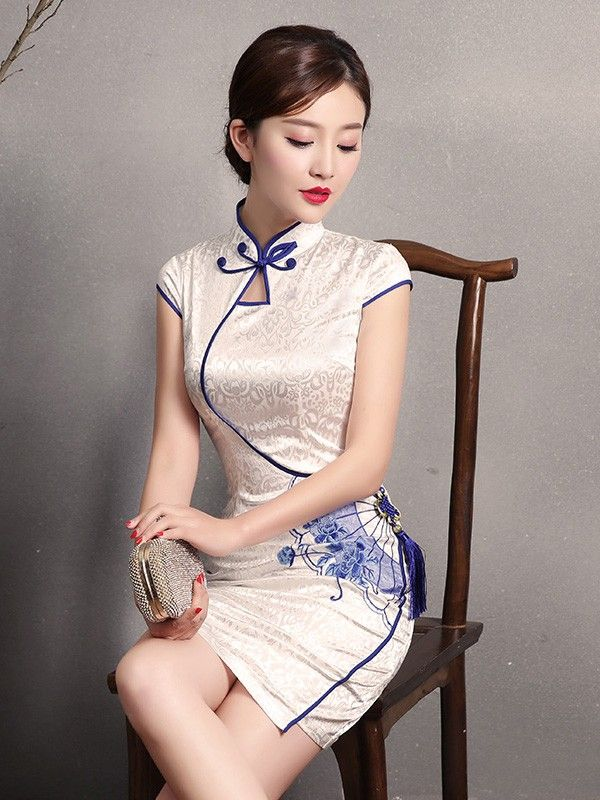 Short Ivory Qipao / Cheongsam Party Dress with Embellished Tassel