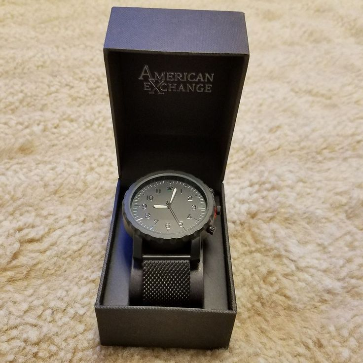 American Exchange Mens Black Watch Metal Mesh Band Silver Hands Easy Read Analog #AmericanExchange