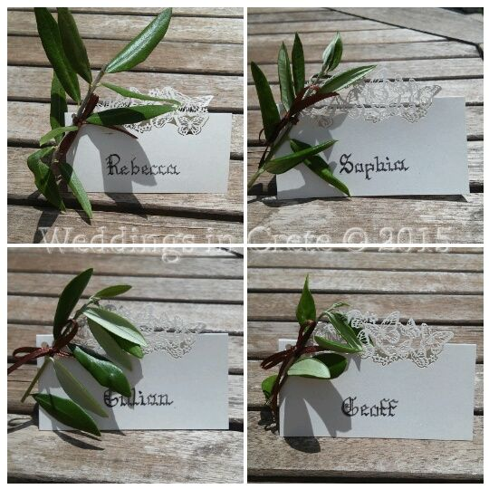 Weddings in Crete - Olive Leaf Name Cards - by Weddings in Crete