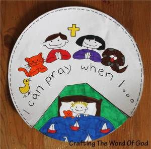 I can pray when I . . .  (a cute craft to help remind children that they can pray at any time.