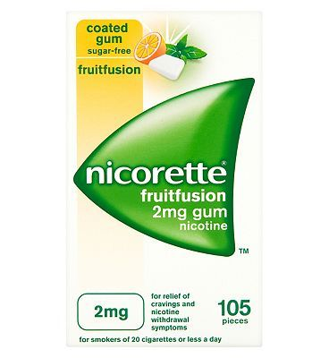 Nicorette Freshfruit 2mg Gum - 105 pieces 10064420 40 Advantage card points. Coated gum. Sugar-free. For relief of cravings and nicotine withdrawal symptoms. For smokers of 20 cigarettes or less a day. Each piece contains 2mg nicotine. See details bel http://www.MightGet.com/february-2017-1/nicorette-freshfruit-2mg-gum--105-pieces-10064420.asp