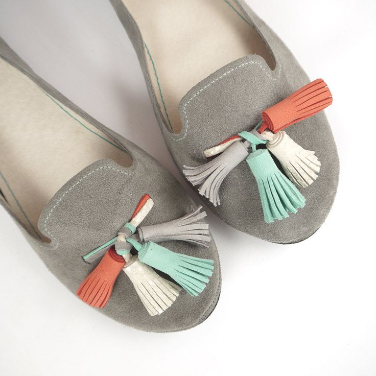 These Loafers in Gray Suede with Aqua & Coral Tassels would go fantastic with Jenna Benna's Chevron Coral Fabric on your Sorority Letter T-Shirt!
