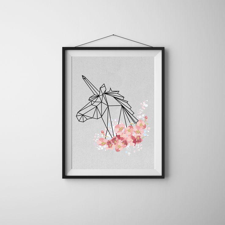 idee-cadeau-fete-des-meres-deco-cadre-blanc-dessin-origami-noir-licorne-fleurs-petales-cerisier-rose