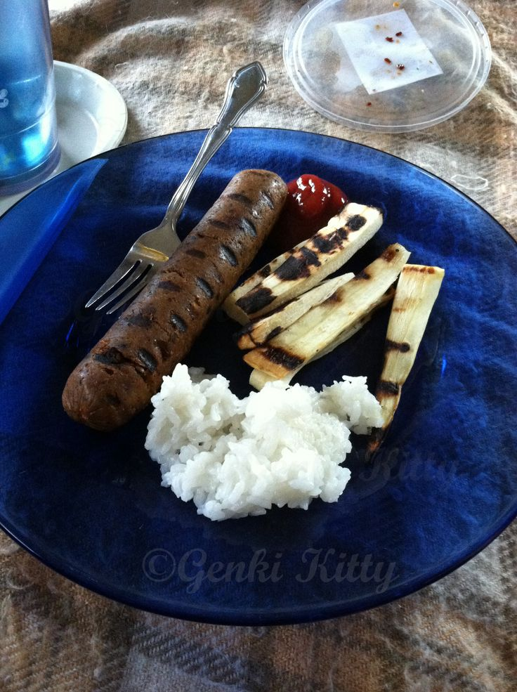 Vegan BBQ of sausages tofurky
