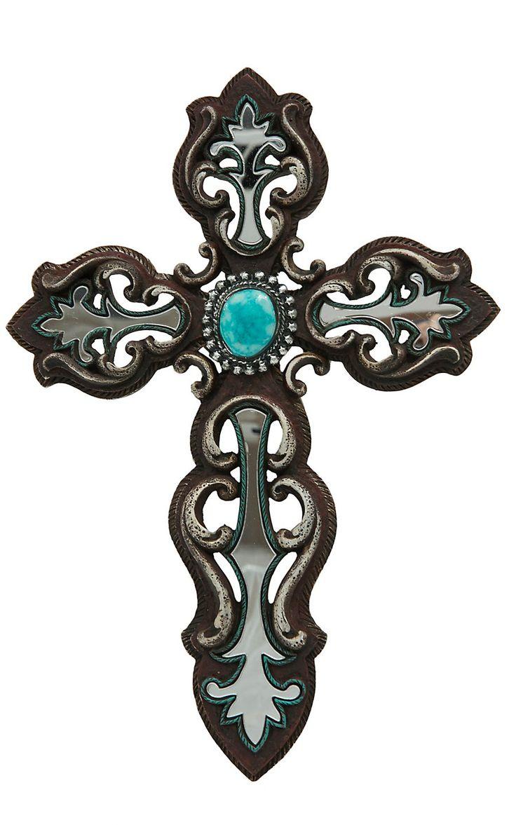 Besides cross clip art wall decor decorative wood cross decorative - M F Brown Turquoise Mirror Wall Cross