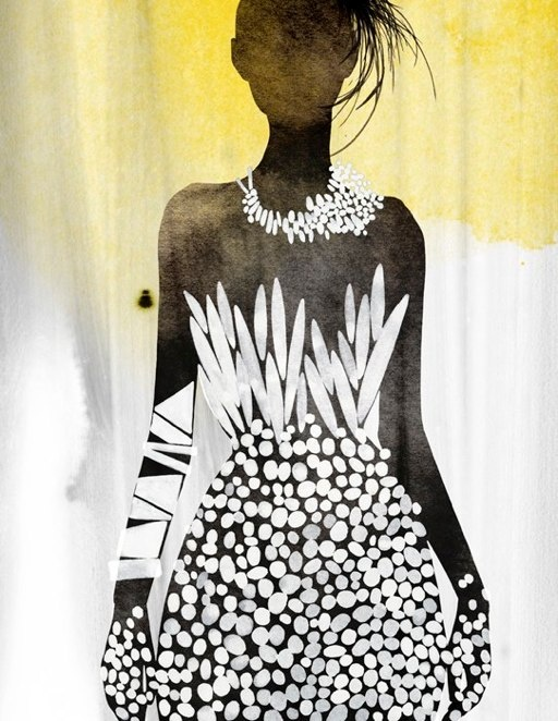 lady in white evening dress, illustration by Kareem Iliya (2012)