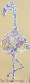 Tekenen en zo: Flamingo in Art Nouveau stijl Laat Art Nouveau voorbeelden zien via het digibord. Bespreek de kenmerken: sierlijke lijnen, ronde vormen, veelal asymmetrisch, organische vormen uit de natuur, uitbundig.   Trek een schoteltje om op wit tekenpapier. Teken hierop met gelpennen Art nouveau motieven in maximaal drie kleuren. Plak deze tekening op een tweede vel wit tekenpapier. Teken poten, staart en kop van een flamingovogel en versier deze delen ook met gelpen. Knip de vogel uit…