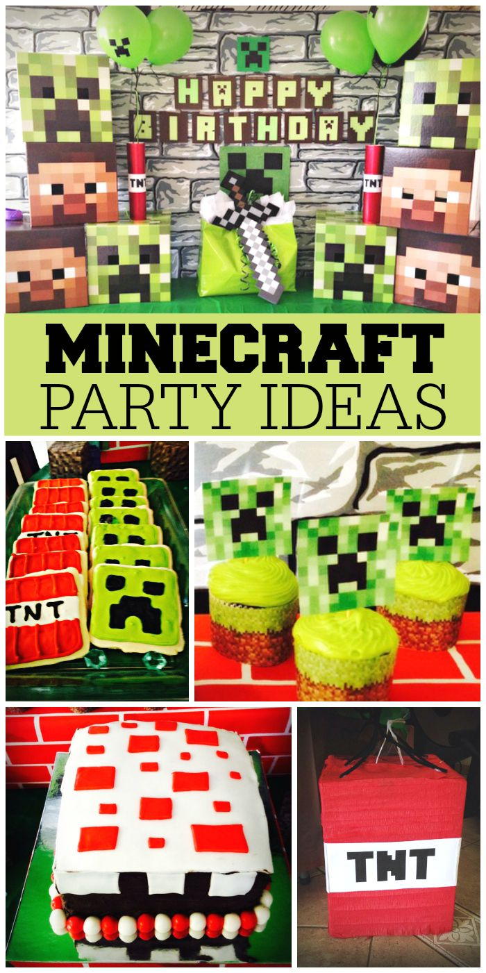 Minecraft fans will love this fun birthday party!  Lots of great details!  See more party ideas at CatchMyParty.com!