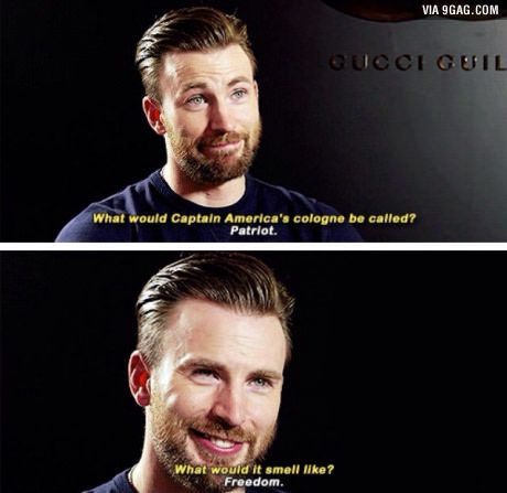 Because we all know that Captain America smells like freedom...or maybe freedom smells like Captain America?
