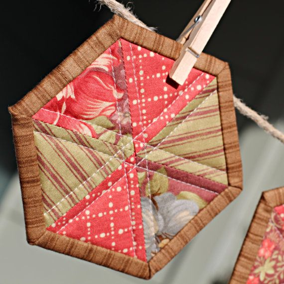 Quilted Coasters Hexagon shaped with Binding by FrivolousNecessity, $8.00