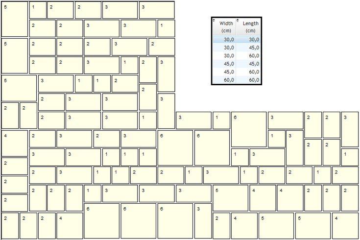 Random tile pattern with 6 sizes | mini-conv tiles | Tile