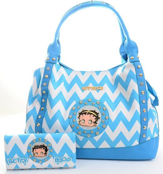 Blue Chevron Print Betty Boop Faux Leather Handbag Purse And Wallet Set