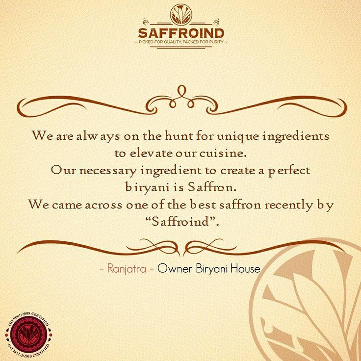 A customer quote is more than gold for us! Glad to share this with you all. #customers  #customerfeedback #customerappreciation #customerservice #customerorder #happycustomer #customersatisfaction #delighted #customerdelight #chef #chefschoice #chefhappyskitchen #happychef #hotelchef #flavor #aromatic #richer #saffron #saffronthreads #kesar #cheflife #biryani #biryanirecipe #biryanihouse