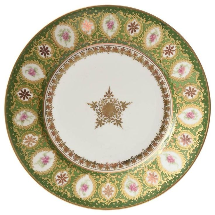 12 Antique Limoges Dessert Plates, Centre Star Medallion Green and Pink | From a unique collection of antique and modern dinner plates at https://www.1stdibs.com/furniture/dining-entertaining/dinner-plates/