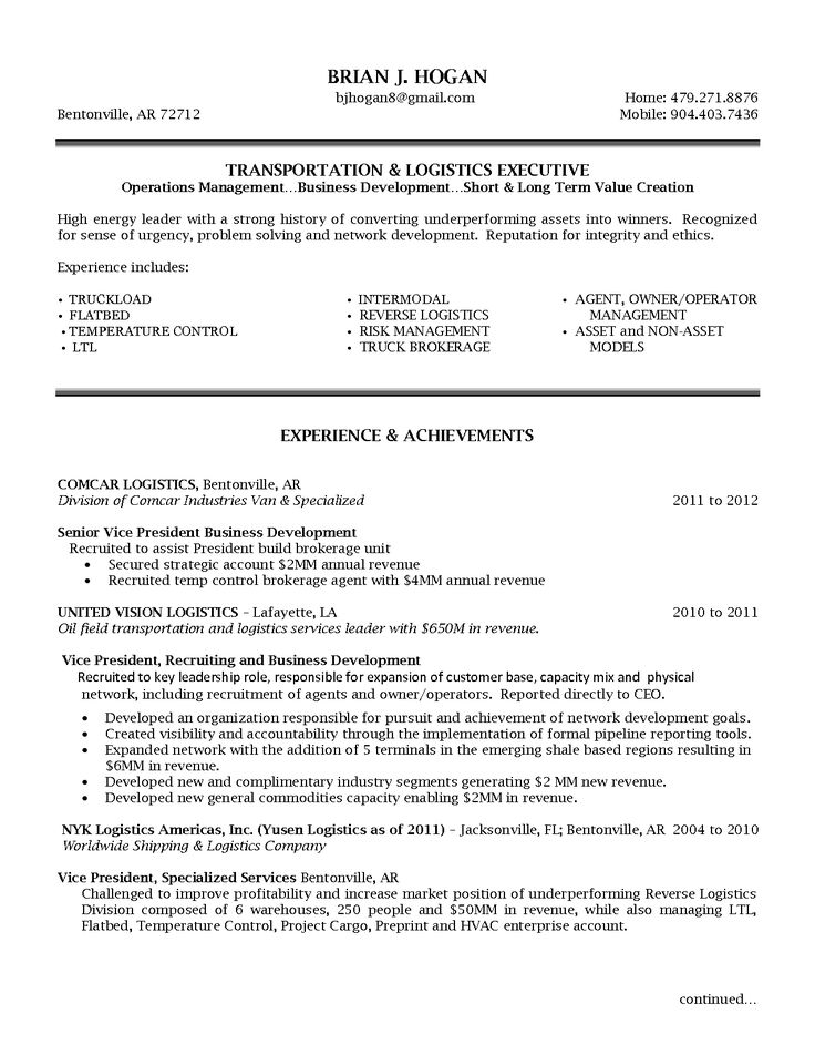 Beautiful Senior Logistic Management Resume | VP Director Operations Logistics In  Bentonville AR Resume Brian Hogan