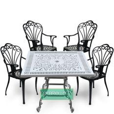 Dört kişilik kare alüminyum döküm masa ve kollu alüminyum döküm 4 adet sandalye takımı