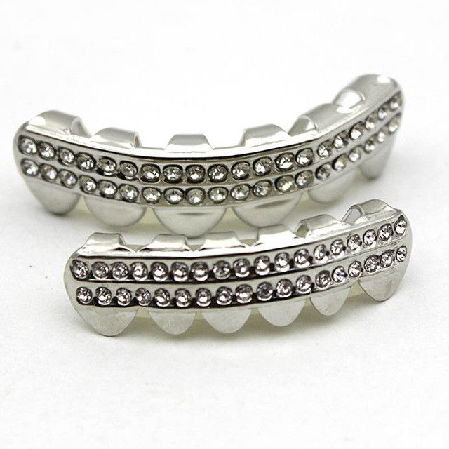 [FULL SET] DOULE DIAMOND ROW SILVER GRILLZ