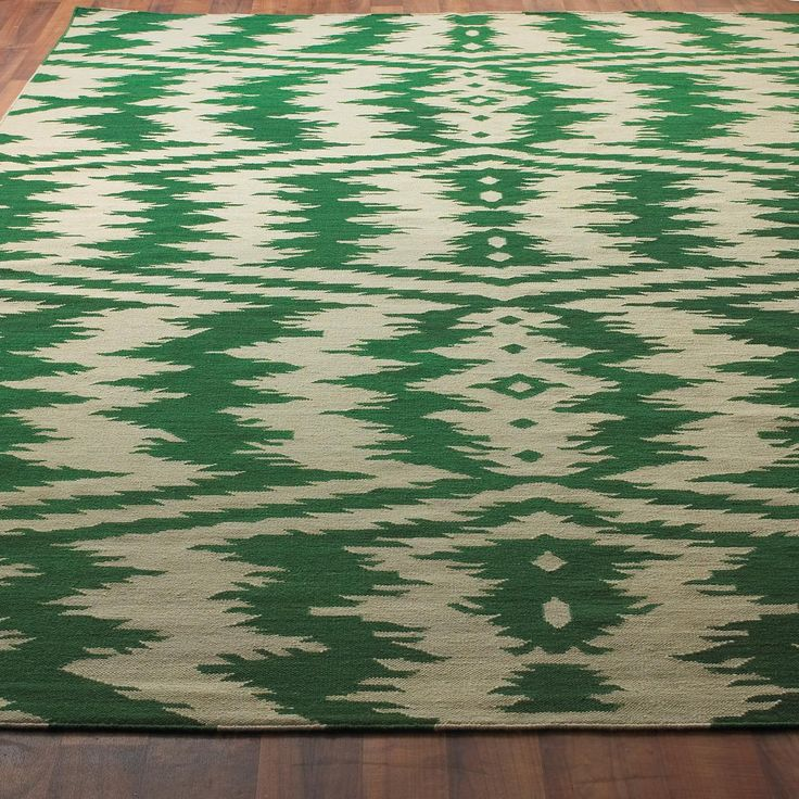 Ikat Stripe Dhurrie Rug 4 Colors Dining Room RugsGreen