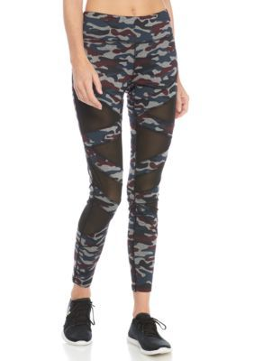 Jessica Simpson Thewarmup Women's Camo Mesh Inset Leggings - Pebble Gry - Xl