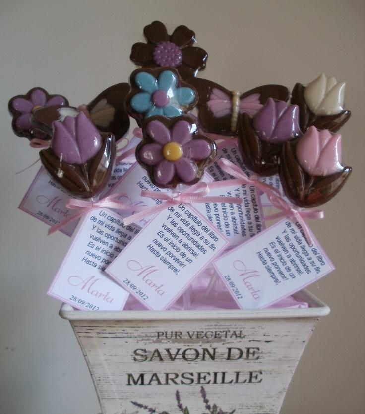 Flores de chocolate de Palermo dulce con dedicatorias