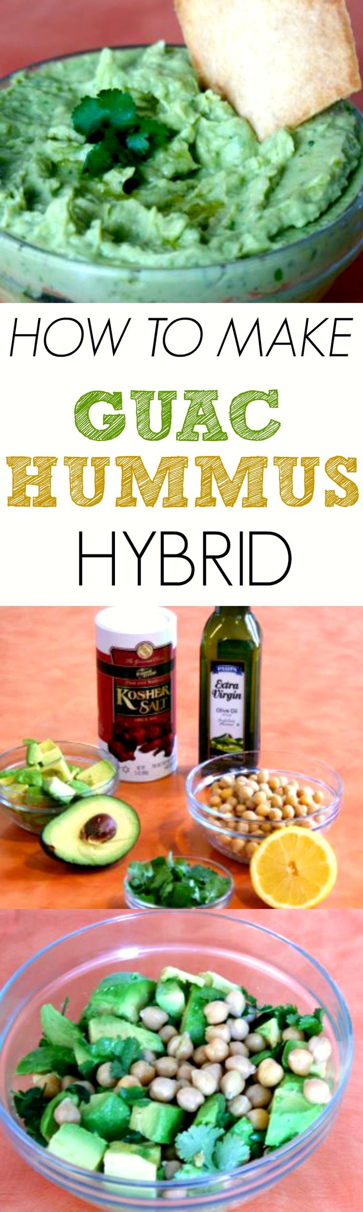 The healthiest party dip you'll ever make. Not to mention you'll be the coolest party host on the block. Mix everyone's favorite two dips together--hummus and guacamole. You will be loved. #dip #guac #hummus