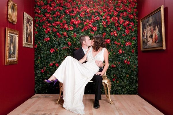14 Awesome and unique photo booth backdrops.... love the flowers on the back wall, different color though
