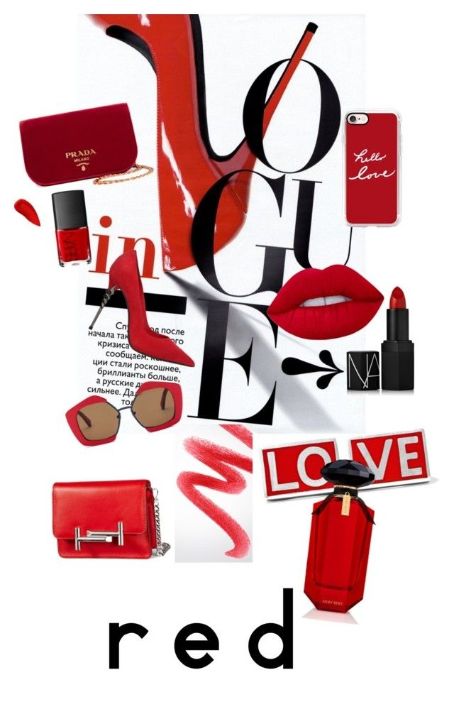 red by gunhild on Polyvore featuring beauty, Burberry, Lime Crime, NARS Cosmetics, Lipstick Queen, Victoria's Secret, Casetify, Marni, Givenchy and Prada