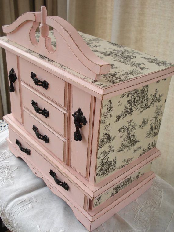 Vintage Pink Toile Decoupage Distressed Musical Jewelry Box Chest