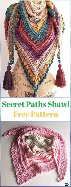 Crochet Secret Paths Shawl Free Pattern-Crochet Women Shawl Sweater Outwear Free Patterns