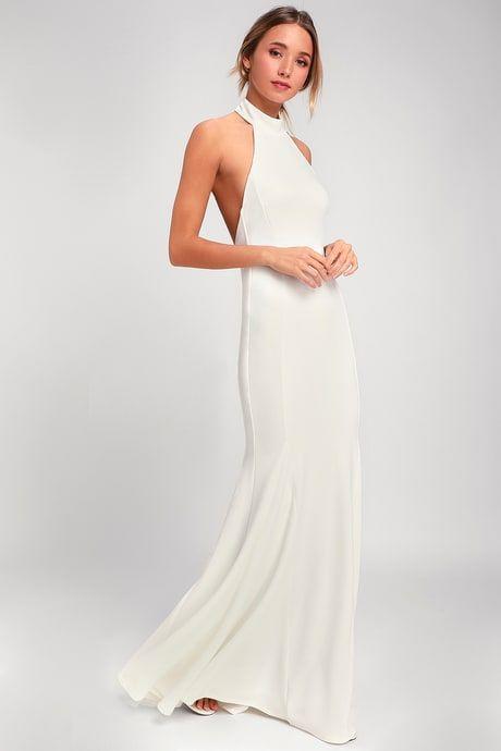 51fb4b6f95 Lulus | Slice of Joy White Halter Maxi Dress | Size X-Large | 100 ...