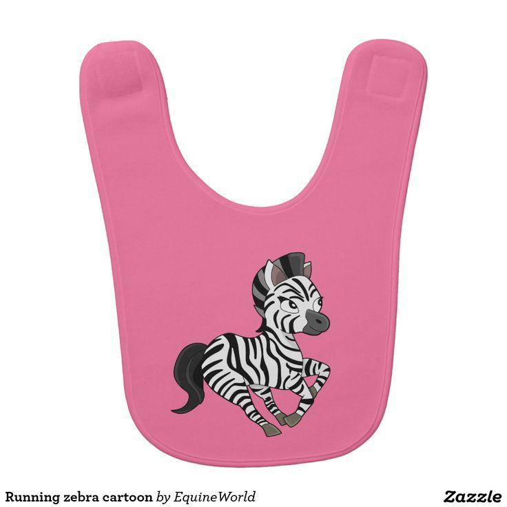 Running zebra cartoon bib