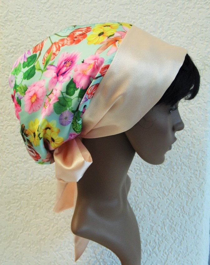 Natural curly hair scarf, satin bonnet, silky tichel, bad hair day scarf, satin head snood, Afro hair scarf, satin head scarf by accessoriesbyrita on Etsy