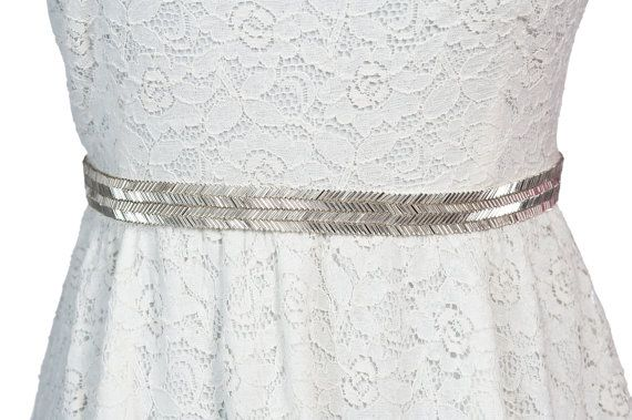 silver beaded bridal belt / sash