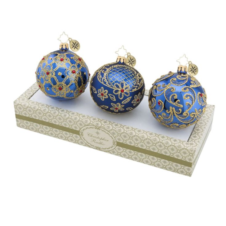 Christopher Radko Ornaments | Radko Boxed Glass Ornament Blue with Gold