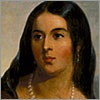 """POCAHONTAS  1852   This regal portrait, painted by the renowned artist Thomas Sully, seemed a fitting treatment of the woman who had come to be called the """"mother"""" of the nation by the 1850s. Southerners in particular claimed Pocahontas as a progenitor; indeed, her descendants through her son Thomas Rolfe were among the most prominent families in the South. It was even adapted for the banner of a Confederate militia unit that called itself the """"Guard of the Daughters of Powhatan."""""""