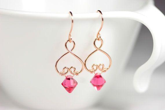 Rose+Gold+Earrings+Pink+Swarovski+Earrings+by+JessicaLuuJewelry,+$35.00