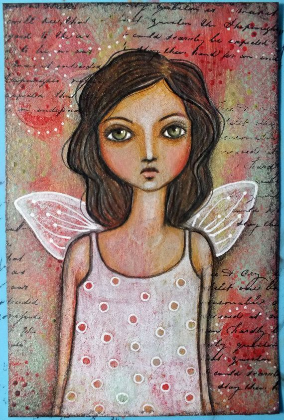 """Original OOAK 4 x 6 Mixed Media acrylic colored pencil """"Quiet"""" A Kennedy portrait girl wings child"""